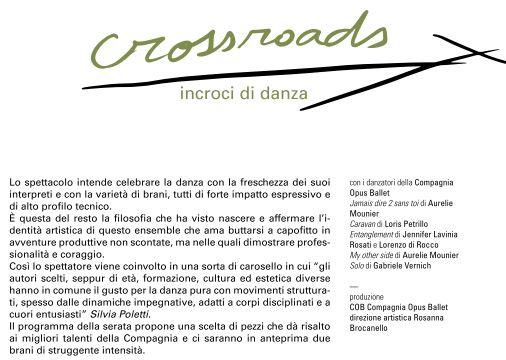 Teatro Caporali Panicale Crossroads 18 gennaio 2020